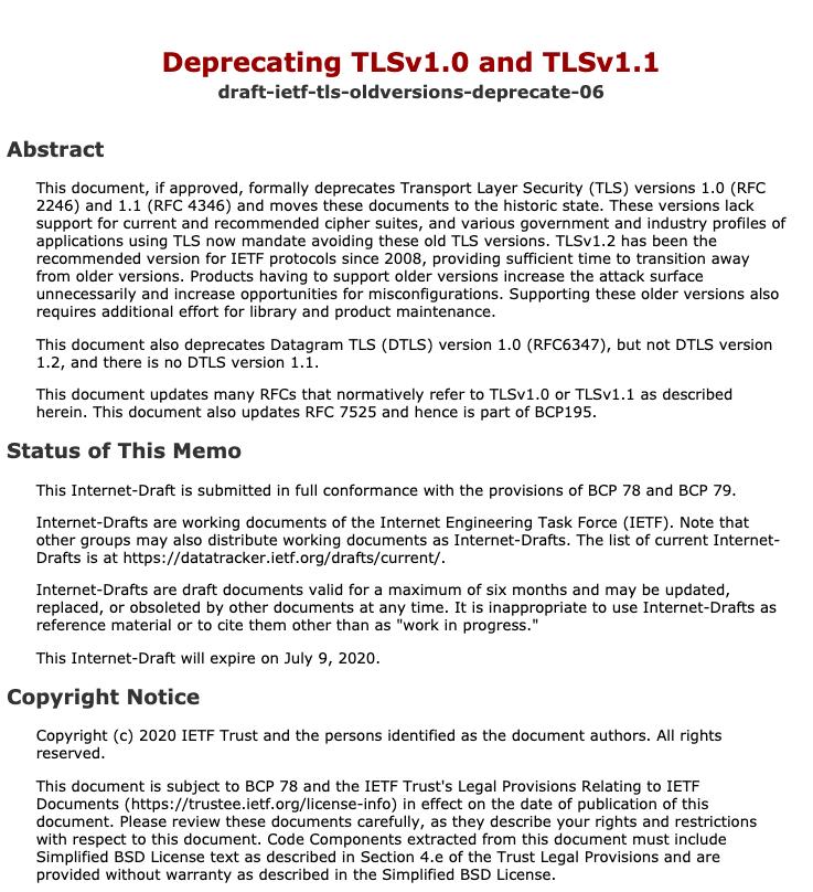 国际互联网工程任务组(IETF)提议弃用TLS 1.0 和 TLS 1.1