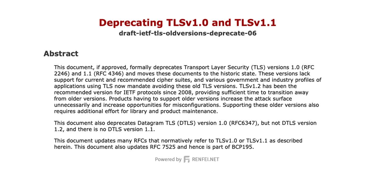 TLS 1.0 和 TLS 1.1 被IETF(国际互联网工程任务组)终结弃用
