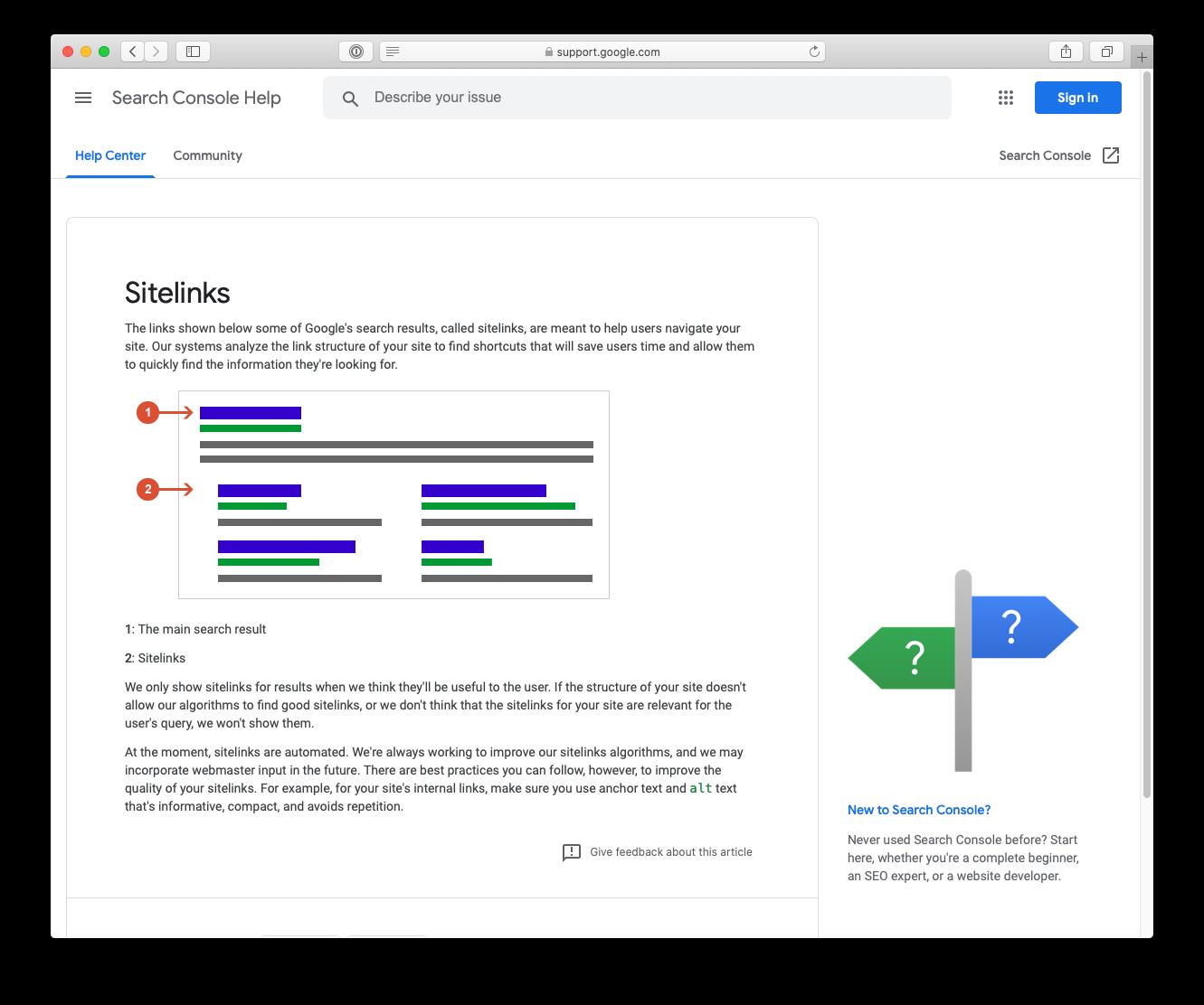谷歌官方对Sitelink的解释