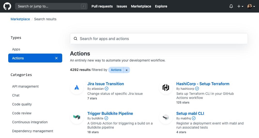 GitHub Actions 官方市场