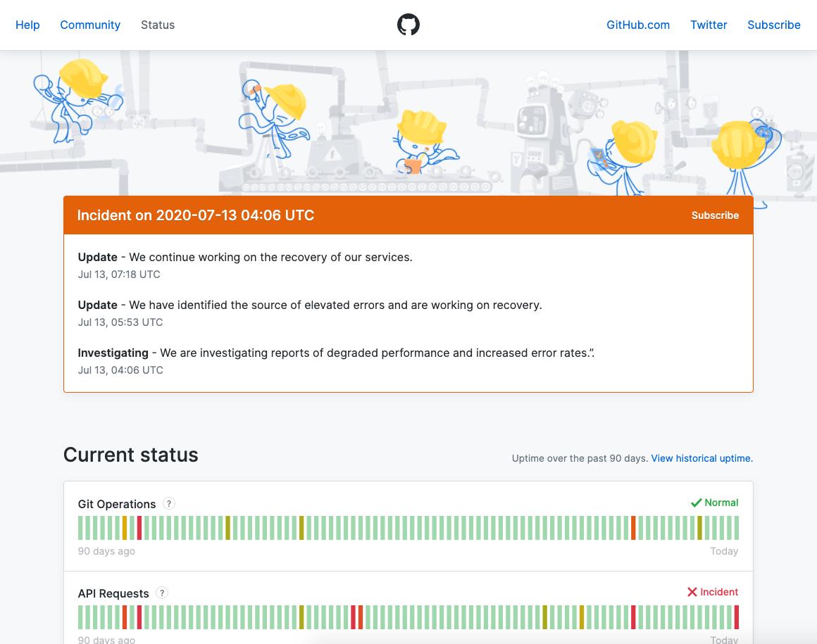 GitHub 服务状态监控页面