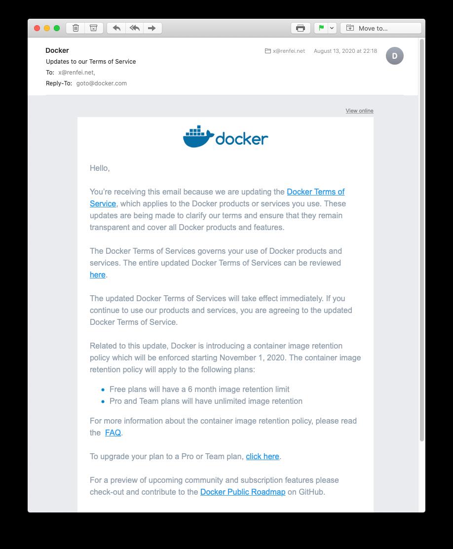 Docker更新服务条款的通知邮件