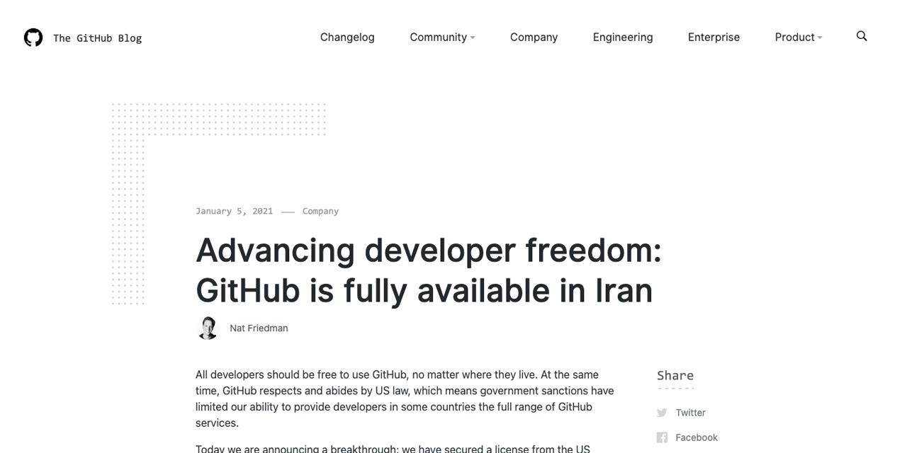 GitHub拆墙,恢复伊朗地区开发者使用,此前因美制裁措施封禁伊朗开发者